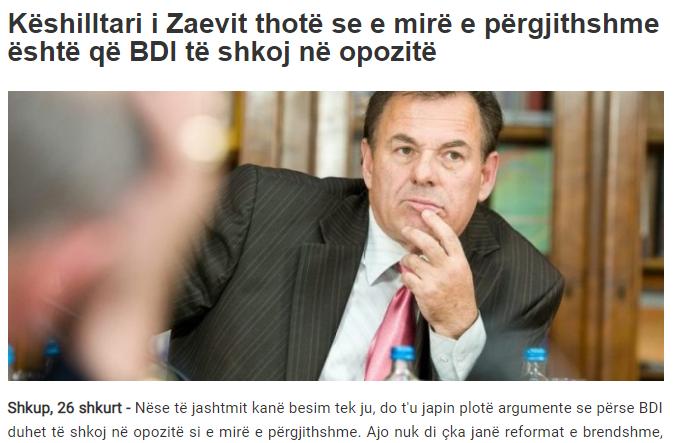 Журнал: Советникот на Заев вели дека општо добро е ДУИ да оди во опозиција