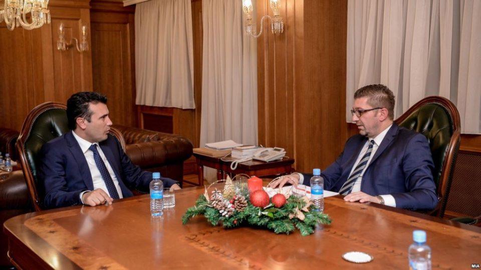 Предвремените избори услов за средбата: Заев и Мицкоски на лидерска во Собранието