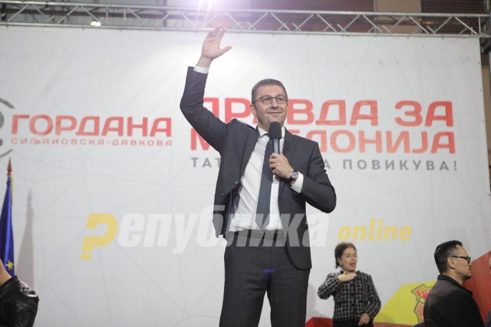 Мицкоски: Очекуваме победа во вториот круг, голем број на граѓани се охрабруваат да се спротивстават на власта