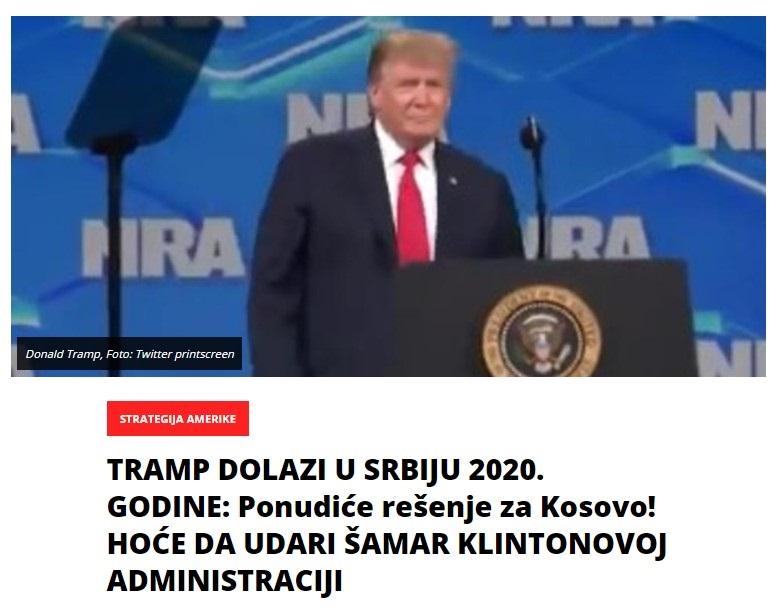 Трамп доаѓа во Србија во 2020, има решение за Косово и шамар за Клинтонови