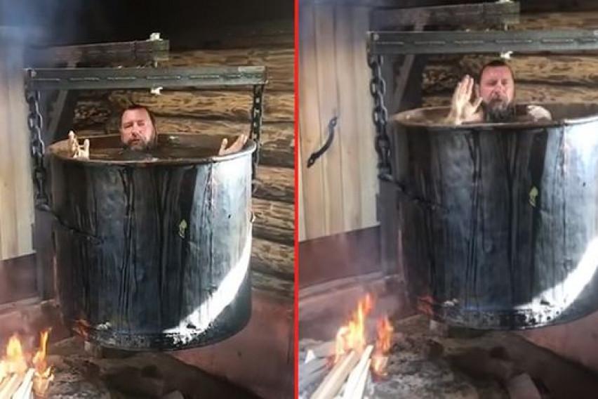 Запалил оган, седнал во голем котел па пратил порака: Само седнете и уживајте, вака се лечат болести