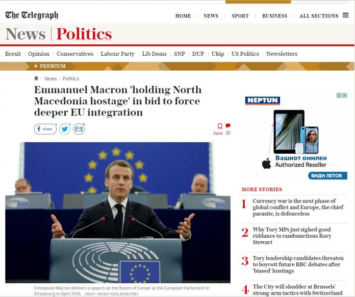 Дејли телеграф: Макрон ја држи Македонија како заложник