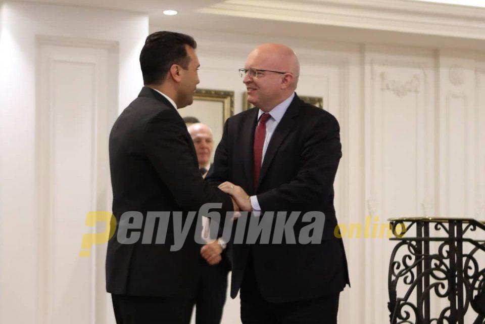 Прес-конференција на Заев и Рикер