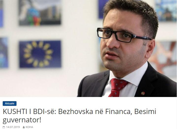 ДУИ со услов за СДСМ: Бежовска во финансии, Бесими за гувернер