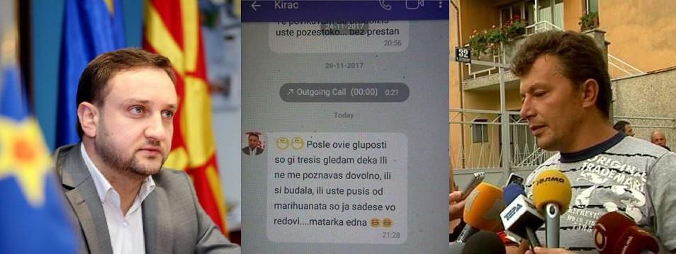 """Кирацовски преку """"Вибер"""" го навредува Душко: Матарка една"""