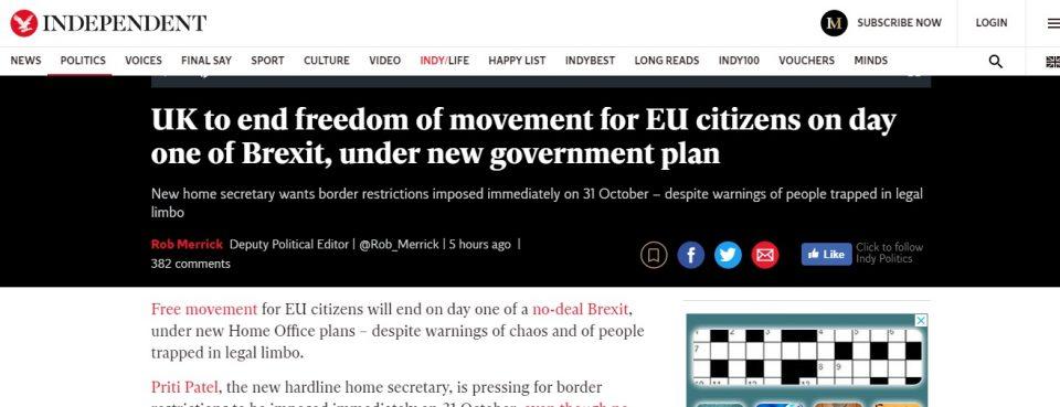 """Велика Британија ќе стави крај на слободата на движење за државјаните на ЕУ уште од првиот ден од """"Брегзит"""""""