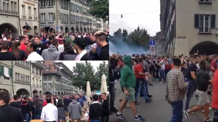 """Брутална тепачка на """"Делиите"""" во Берн: Пукотници и провокации за Косово"""