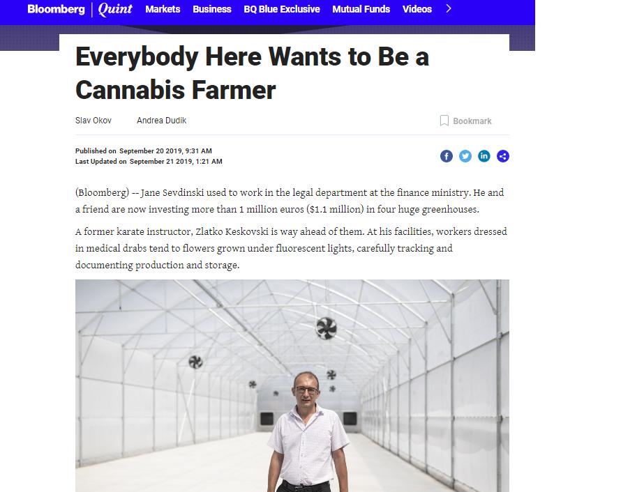 """Алфа: Канабисот на Заеви на страниците на """"Блумберг"""", братучедот на премиерот одби разговор за бизнисот со марихуана"""