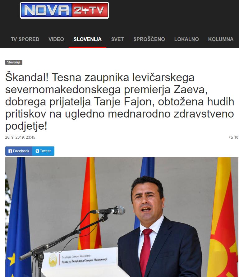Скандал! Блиски соработници на левичарскиот северномакедонски премиер Заев, добар пријател на Тања Фајон, обвинети за вршење пртисок на угледна меѓународна здравствена компанија
