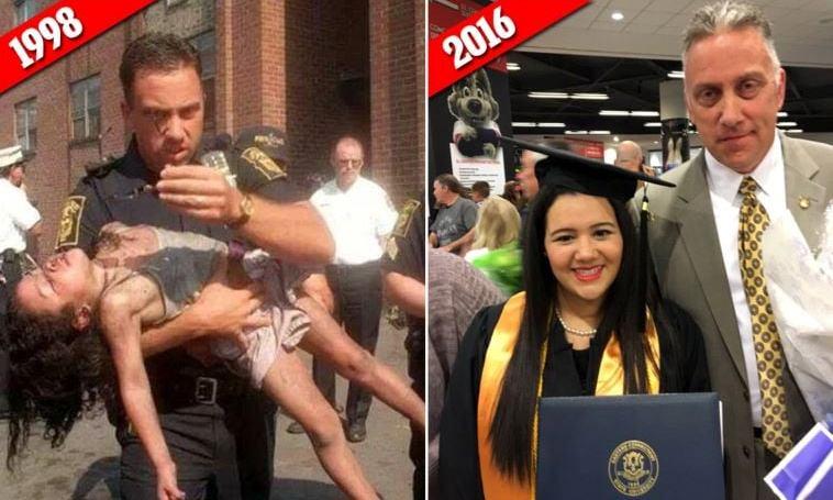 Полицаецот што ја спаси од пожар кога имала 5 години, денеска и дојде на матура