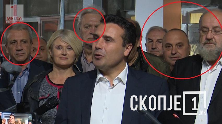 """""""Кисел купус"""" лица на коалиционите партнери додека Заев најавуваше победа"""