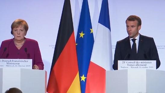 Прес-конференција на Макрон и Меркел по вечерашната средба
