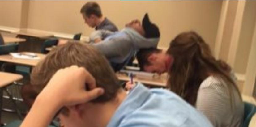 Фотографија од студент кој спие на предавање го насмеа светот