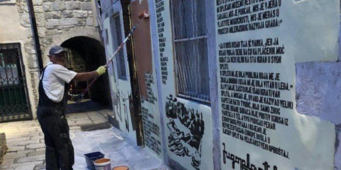 Сплит ѝ се избербати на Југопластика: Споменот на Кукоч, Раѓа, Сретеновиќ и Маљковиќ премачкан со каки боја