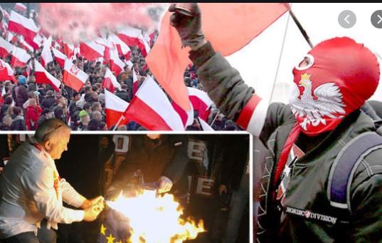 На денот на независноста Полјаците запалија знаме на ЕУ
