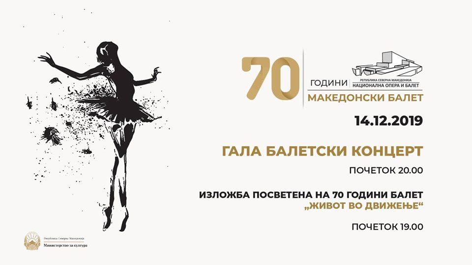 """70 години балет: Изложба """"Живот во движење"""" и балетски концерт"""