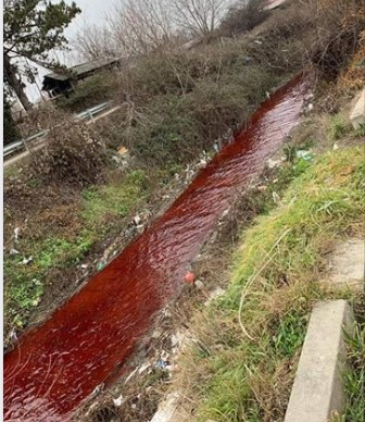 Црвена како да тече крв: Реката Серава загадена