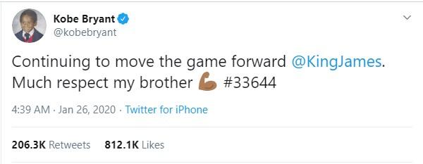 """""""Брат, ја имаш мојата почит""""-последната порака што Коби ја напиша на """"Твитер"""" неколку часа пред несреќата"""