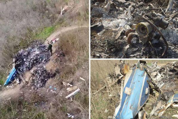 Дрон ги долови страшните глетки од остатоците на хеликоптерот во кој беше Коби
