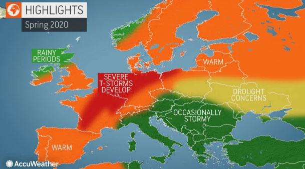 Пролетта во Европа ќе биде потопла од обично