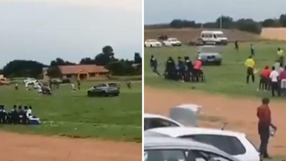 Лут навивач со кола влезе на терен и го бркаше судијата