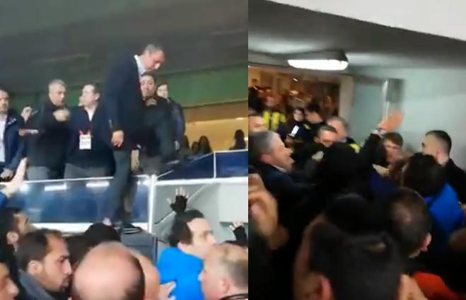Претседателот на Фенербахче скокна од ВИП-ложата и тргна да се тепа со навивачите