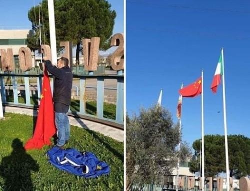 Италијанците го вадат знамето на ЕУ и го ставаат знамето на НР Кина