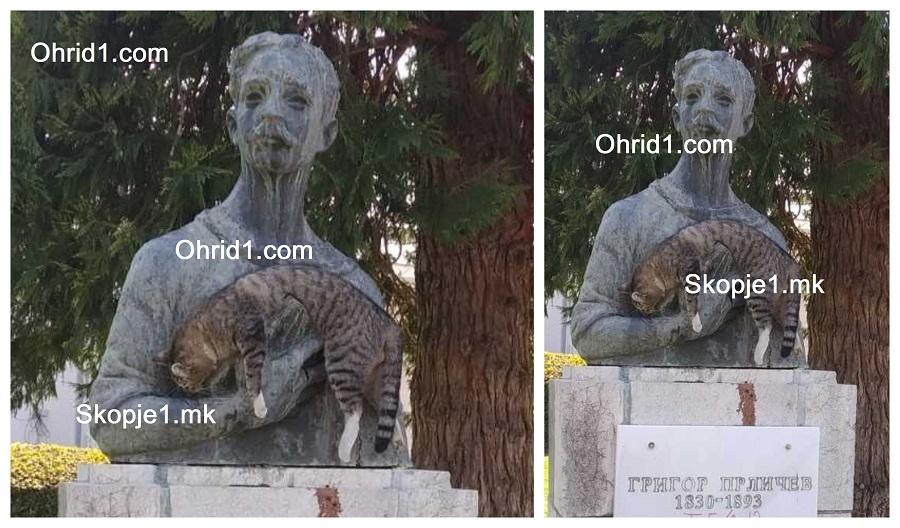 Хулигани го нагрдија споменикот на Прличев во Охрид: Пцовисана мачка ставиле во рацете на поетот