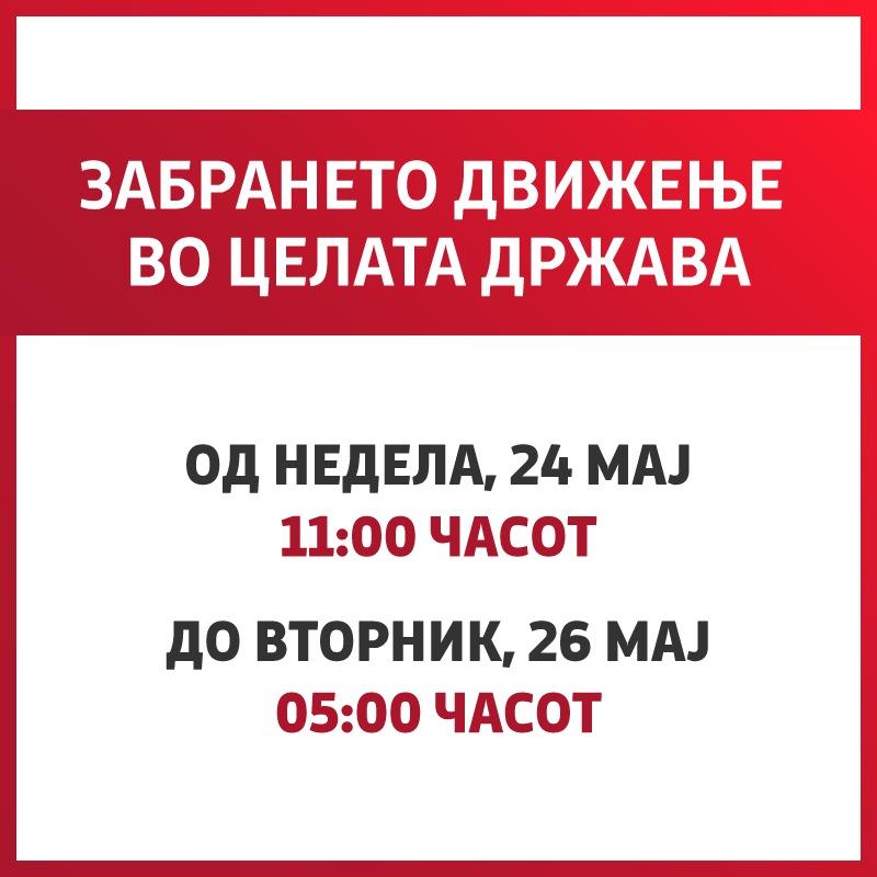 Владата одлучи: Рестрикција на движење од недела во 11 часот до вторник до 05:00 часот