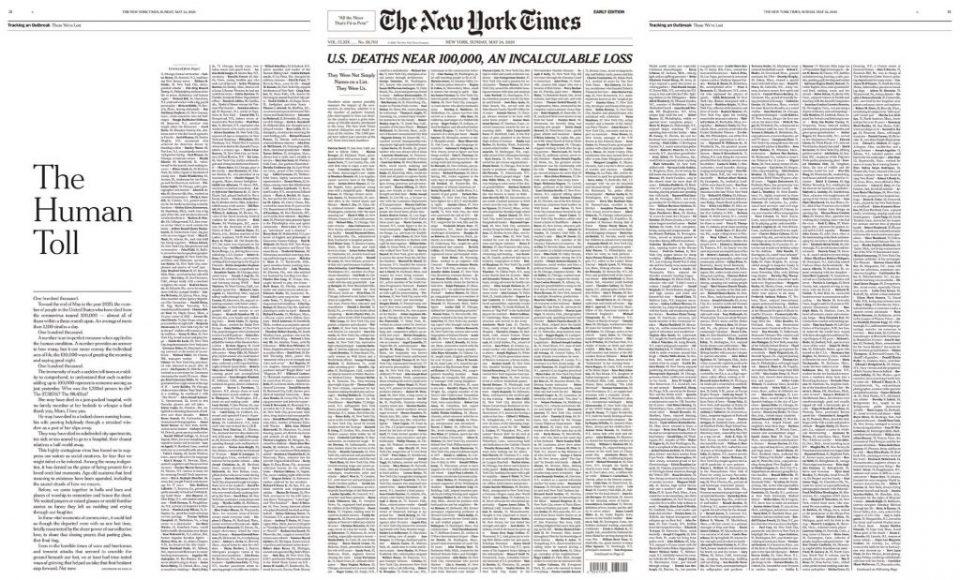 """""""Њујорк тајмс"""" на насловната страница ги објави имињата на починатите од ковид-19"""