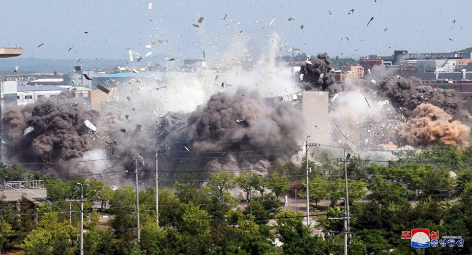 Снимка одблизу кога Пјонгјанг ја уништи канцеларијата за врски меѓу Корејците