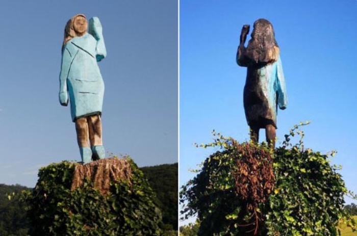 Отстранета дрвената скулптура на Меланија Трамп во Словенија