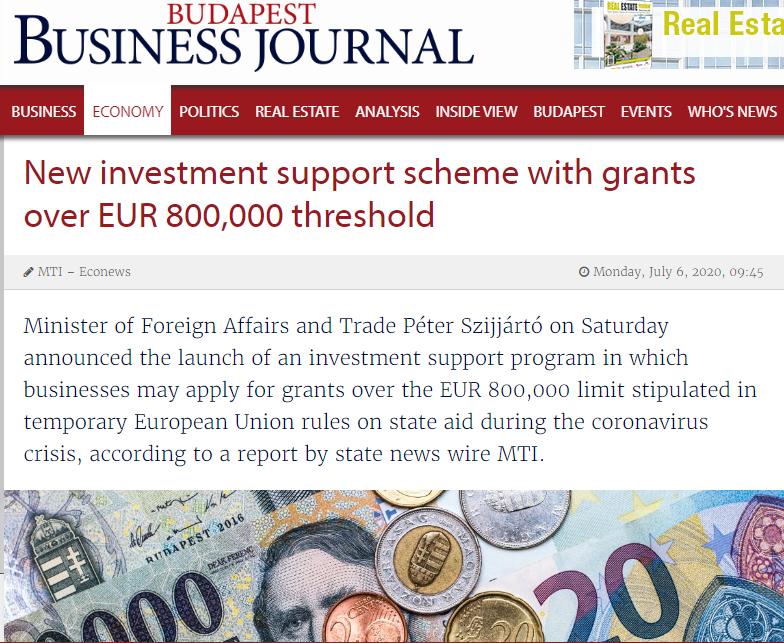 Помош до 800.000 евра за унгарските компании за справување со последиците од епидемијата