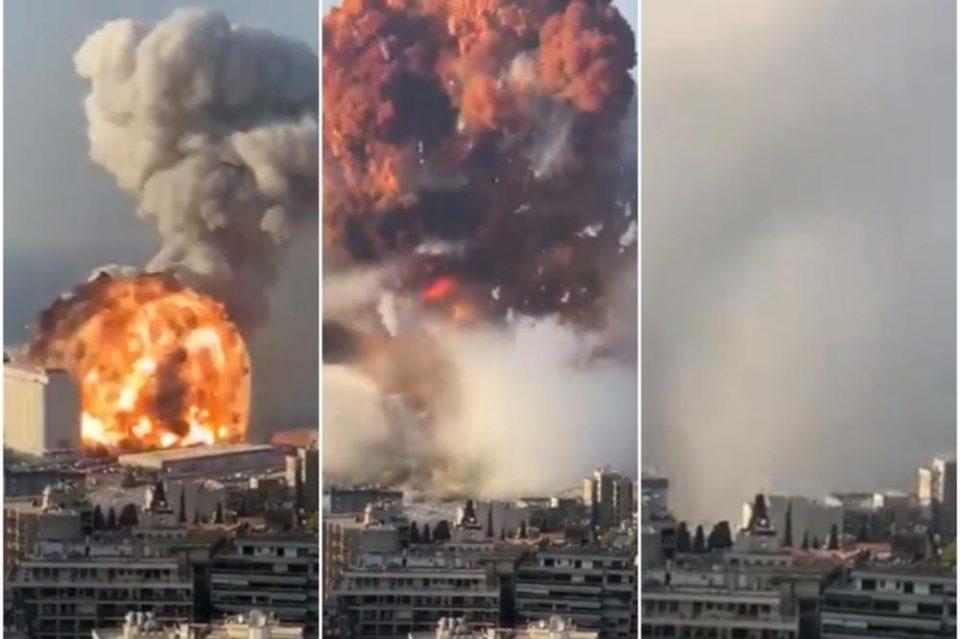 Дали ракета ја предизвикала експлозијата во Бејрут: На интернет се појавија нови снимки од моментот на експлозијата