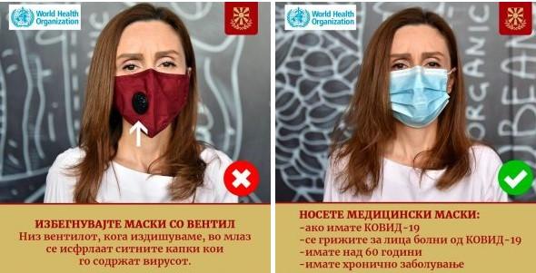 Не носете маски со филтер, капките излегуваат низ вентилот!