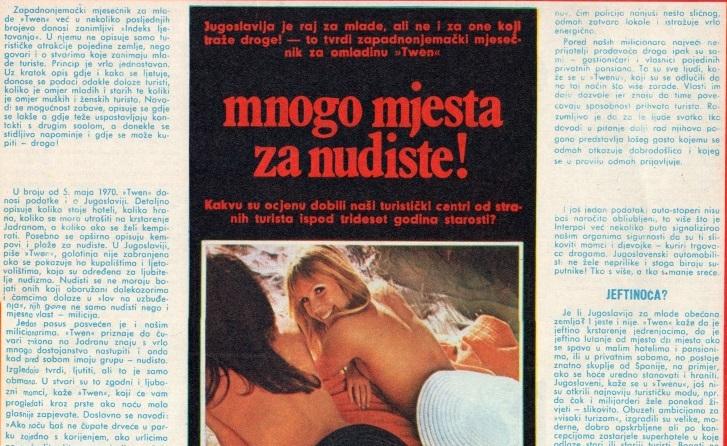 Германски магазин од 1970 за туризмот во Југославија: Тоа е рај за младите
