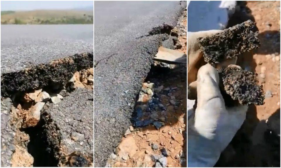 Буквално со лопата да го ринеш: Се распаѓа асфалтот за село Сливник вреден 650 илјади евра