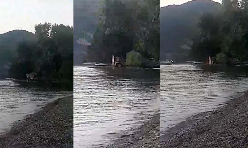 """Бетонската база на Нефи контра """"Охрид SOS"""": Багерот снимен како копа во езерото не е наш"""