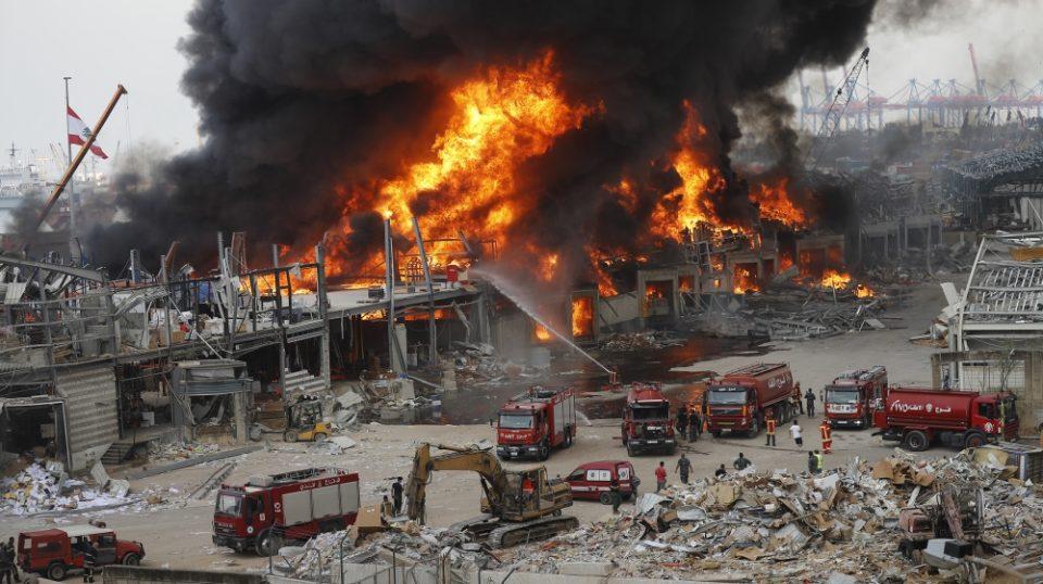 Нов голем пожар на пристаништето во Бејрут