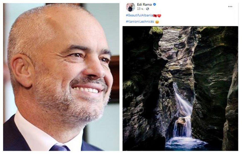 """""""Убава Албанија"""": Рама на """"Фејсбук"""" се фали со македонскиот кањон Лешница"""
