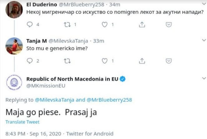 """""""Маја го пиеше прашај ја"""": Мисијата на Македонија во ЕУ на официјалниот Твитер профил дели совети за акутни напади"""