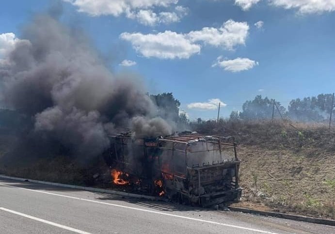 Се запали автобус на автопатот Штип- Миладиновци