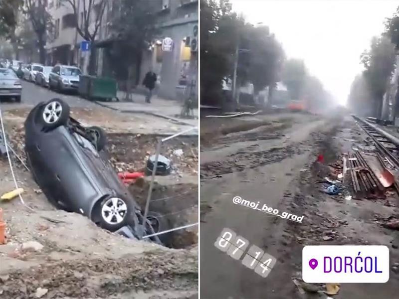 Автомобил падна во дупка направена при реконструкција на улица во Белград