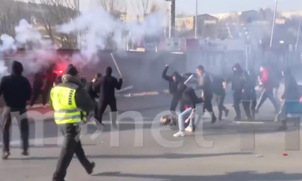 Полицаец повреден во судирот на навивачките групи во Штип