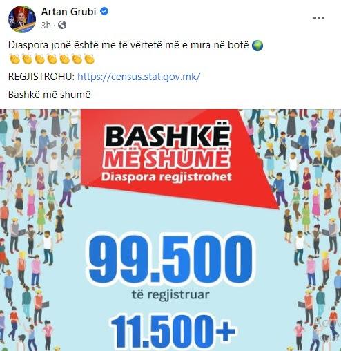 Нашата дијаспора е најдобра на свет, вели Груби споделувајќи дека се потпишале над 99.500 лица