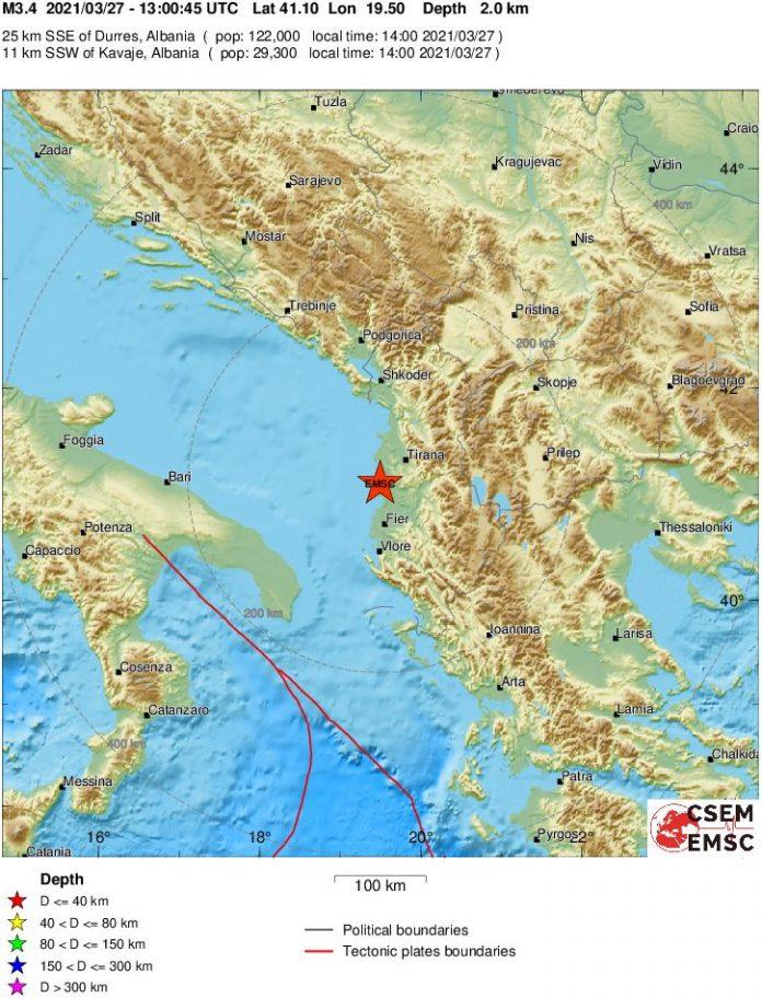 Земјотрес во Албанија, почувствуван и во Македонија