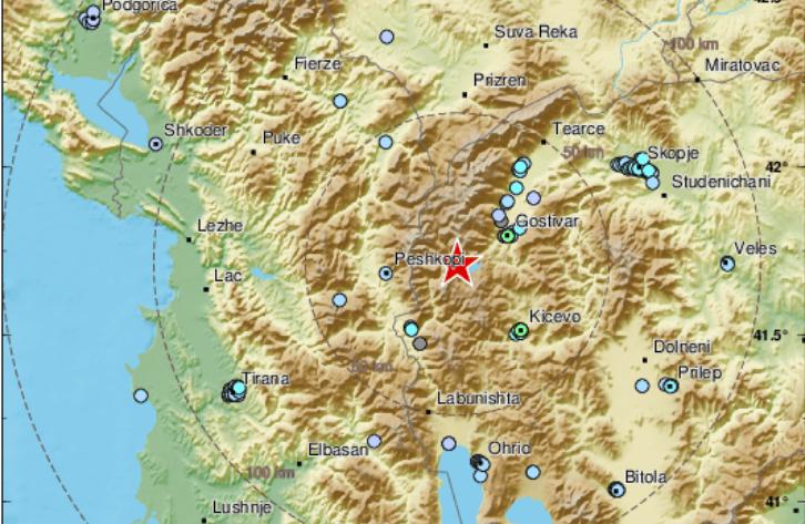 Земјотресот што вечерва ги вознемири скопјани бил во атарот на селото Нераште, во близина на границата со Косово