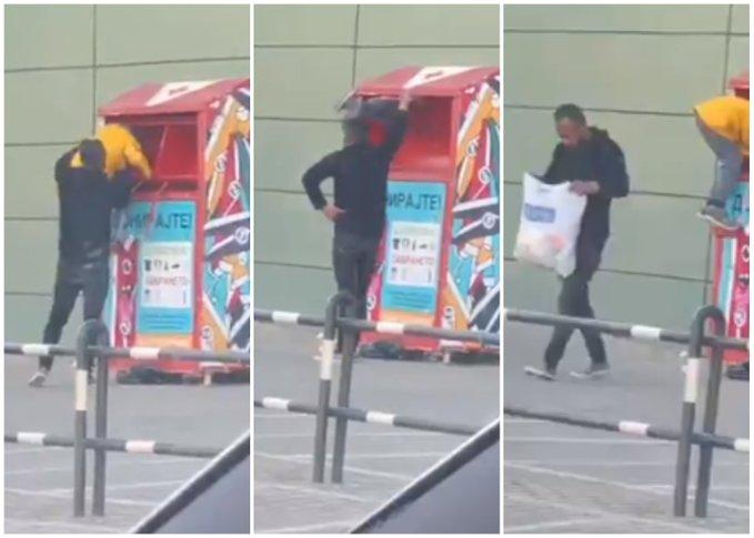 """Маж става дете во контејнер за донации кај """"Сити мол"""""""