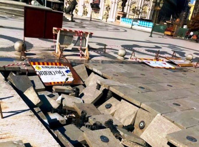 """На плоштадот """"Македонија"""" две недели стои отворената дупка каде што пропадна комуналното камионче"""