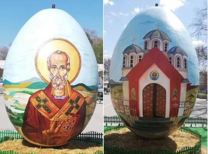 Најголемото велигденско јајце на Балканот поставено на плоштадот во Свети Николе